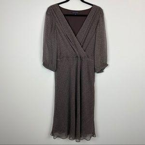 Banana Republic Faux Wrap Silk Midi Dress Brown